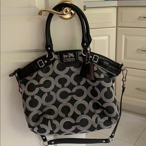 Coach Madison Lindsey metallic black handbag